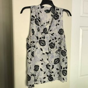 Willi Smith Sleeveless Floral Button Up Shirt